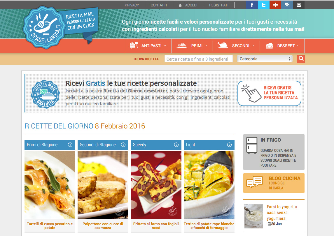 Edimedia sito di ricette spadellandia online for Ricette online